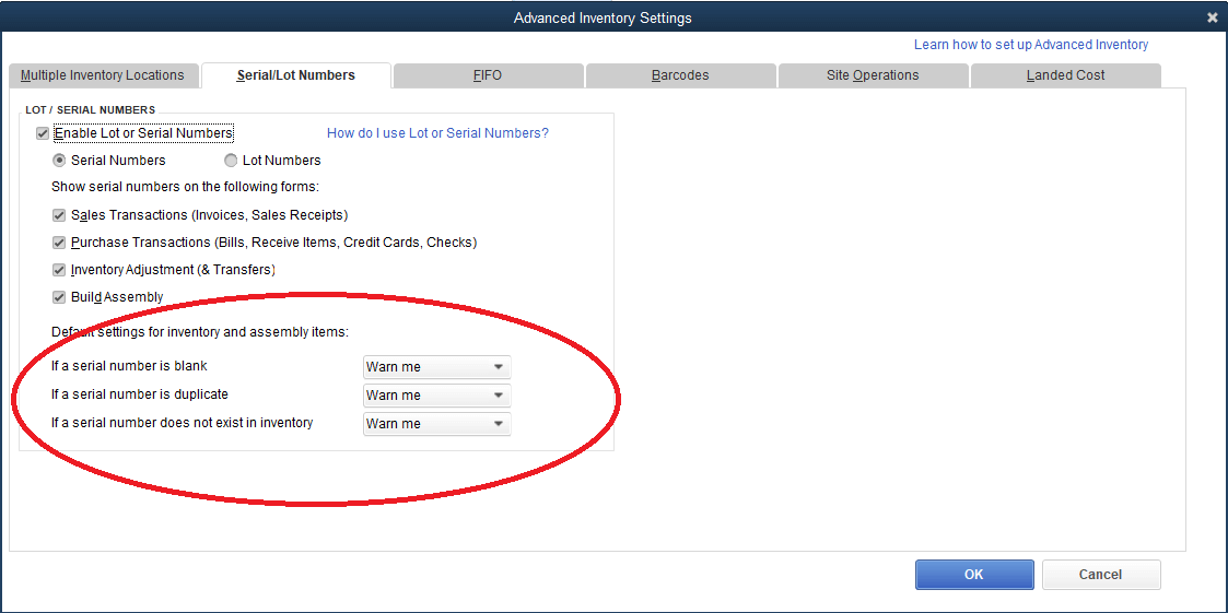 Serial/Lot Numbers Required on Transactions