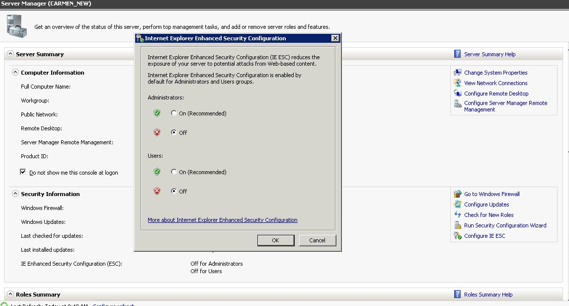 IE security configuration