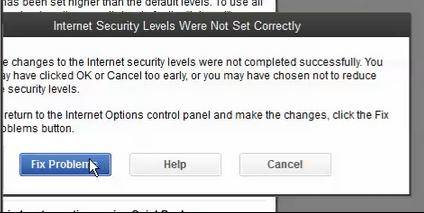 QuickBooks Internet Security Levels Error