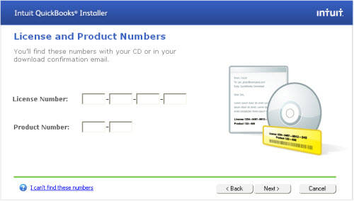 QuickBooks License and Product Number