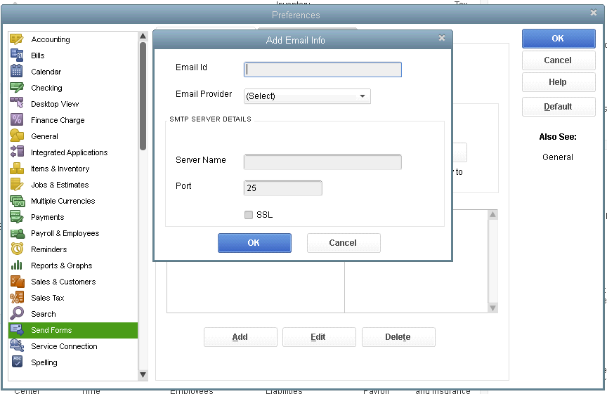QuickBooks to Send Forms