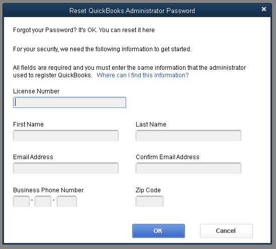 Recover QuickBooks Administrator Password