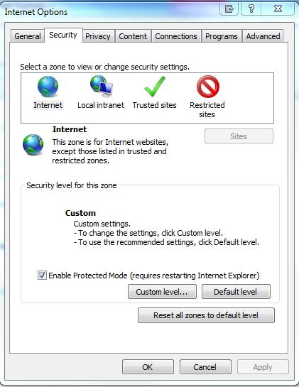 internet security tab
